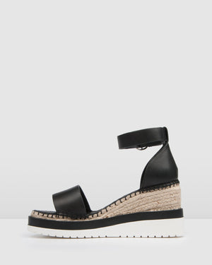 KLUME MID HEEL WEDGE ESPADRILLES BLACK LEATHER