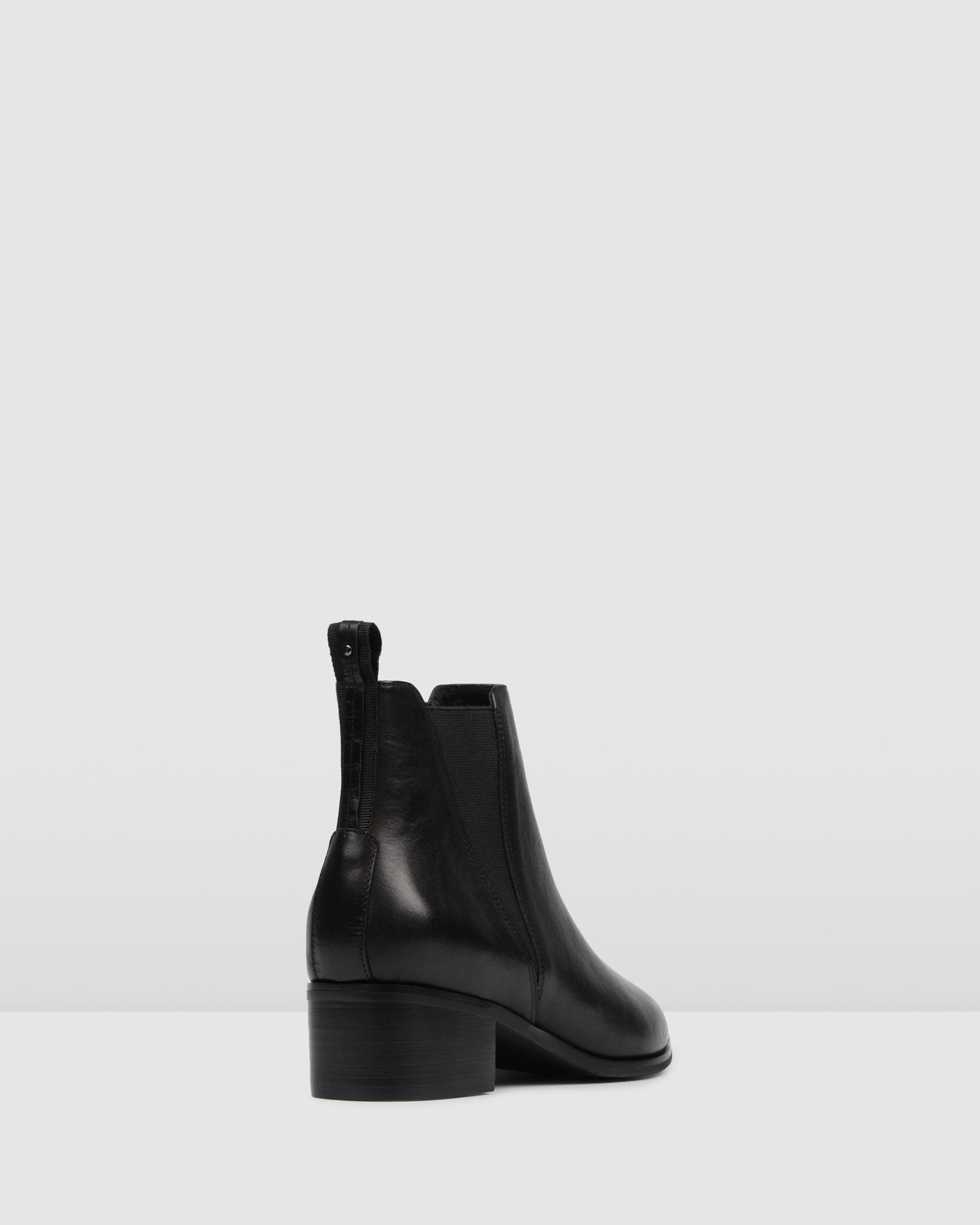 LAYLA FLAT ANKLE BOOTS BLACK LEATHER