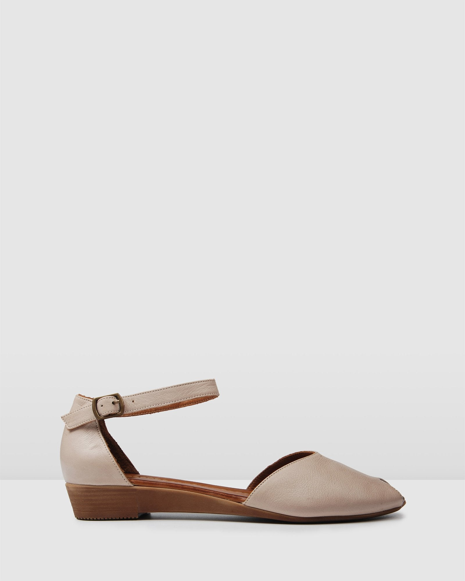 LEXIE FLAT WEDGE SANDALS GREY LEATHER