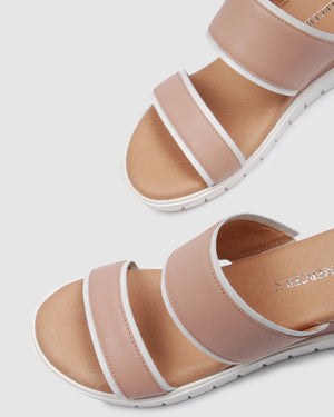 LORI LOW SLIDES BLUSH LEATHER