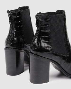 LOVER HIGH ANKLE BOOTS BLACK CROC