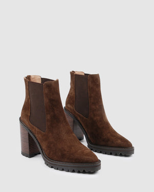 LOYAL HIGH ANKLE BOOTS DARK CHOC SUEDE