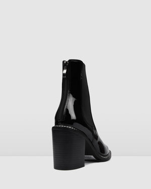 LUXE HIGH ANKLE BOOTS BLACK PATENT