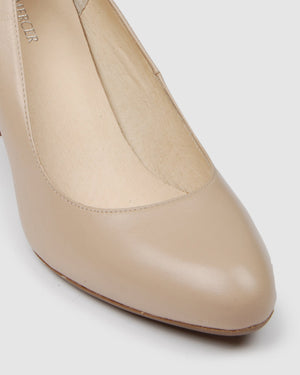 MARCY MID HEELS LIGHT BEIGE LEATHER