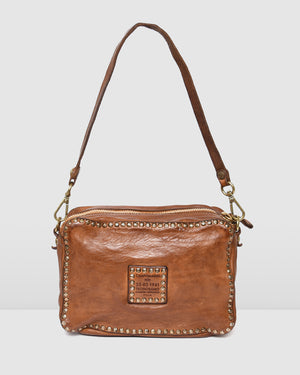 CAMPOMAGGI MONACO SHOULDER BAG COGNAC LEATHER