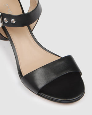 MONARCH MID HEEL SANDALS BLACK LEATHER