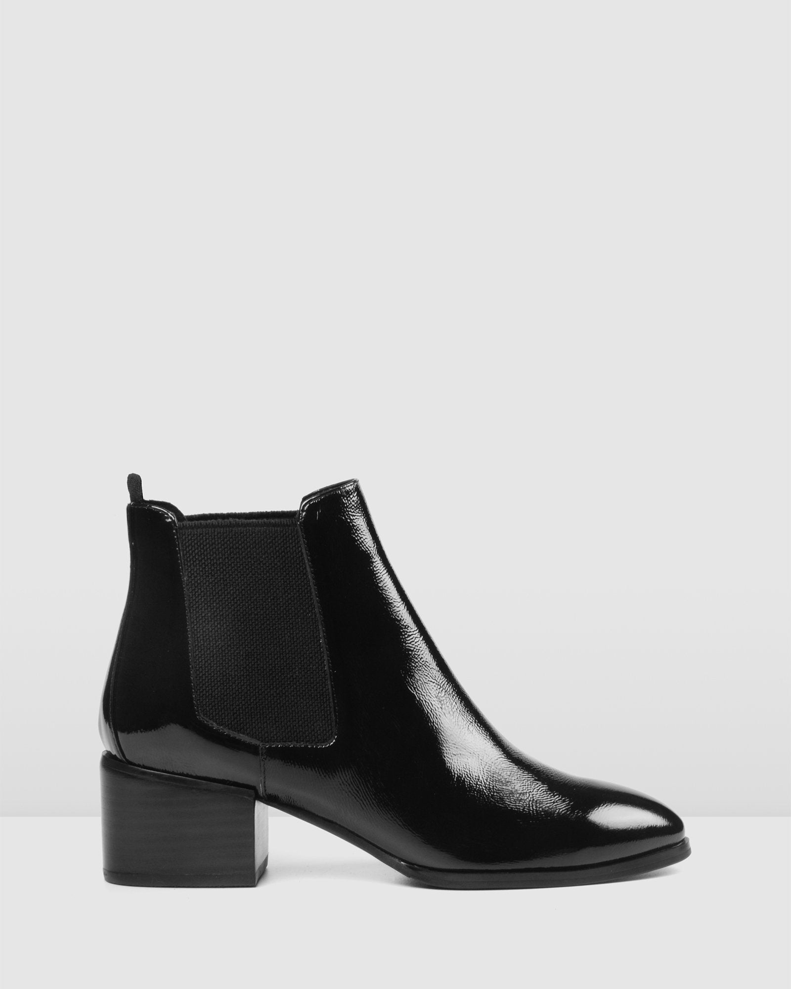 MONSTER MID ANKLE BOOTS BLACK PATENT