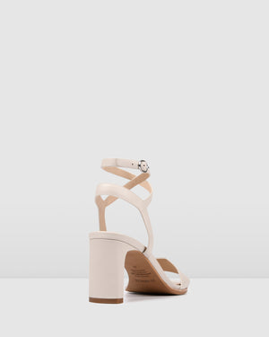 NATSU MID HEEL SANDALS BONE LEATHER