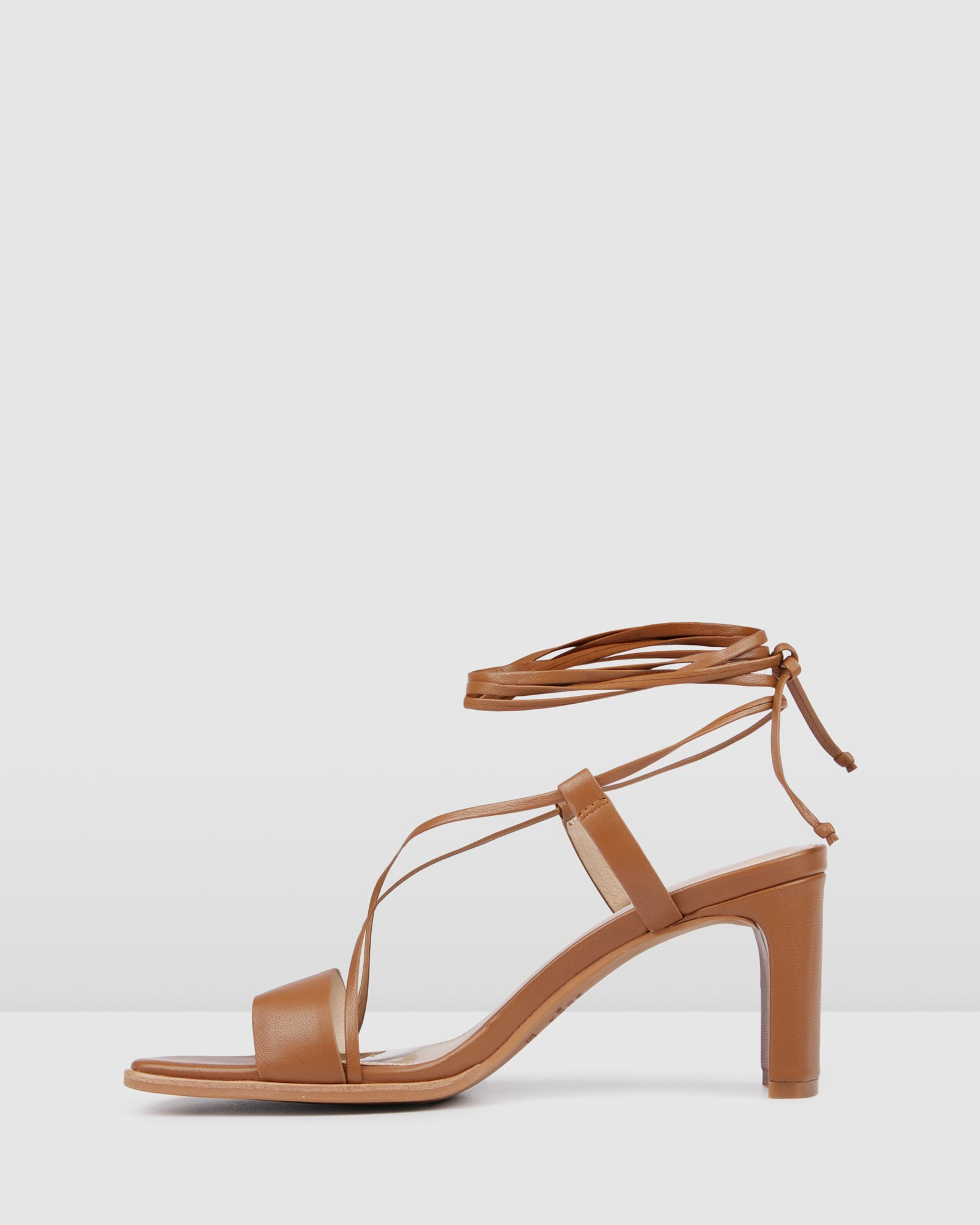 NELLI MID HEEL SANDALS TAN LEATHER