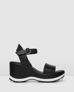 NIXON MID HEEL WEDGES BLACK LEATHER