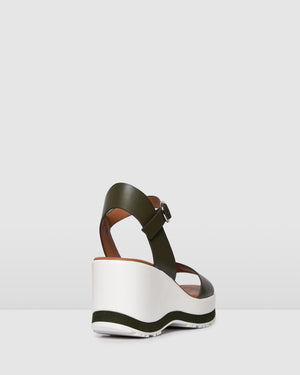 NIXON MID HEEL WEDGES KHAKI LEATHER