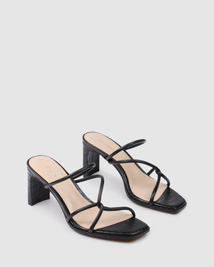 NOVI MID HEEL SANDALS BLACK LEATHER
