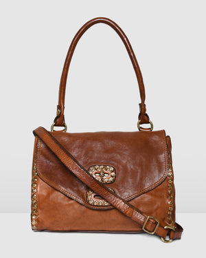 CAMPOMAGGI NUALA SHOULDER BAG COGNAC LEATHER