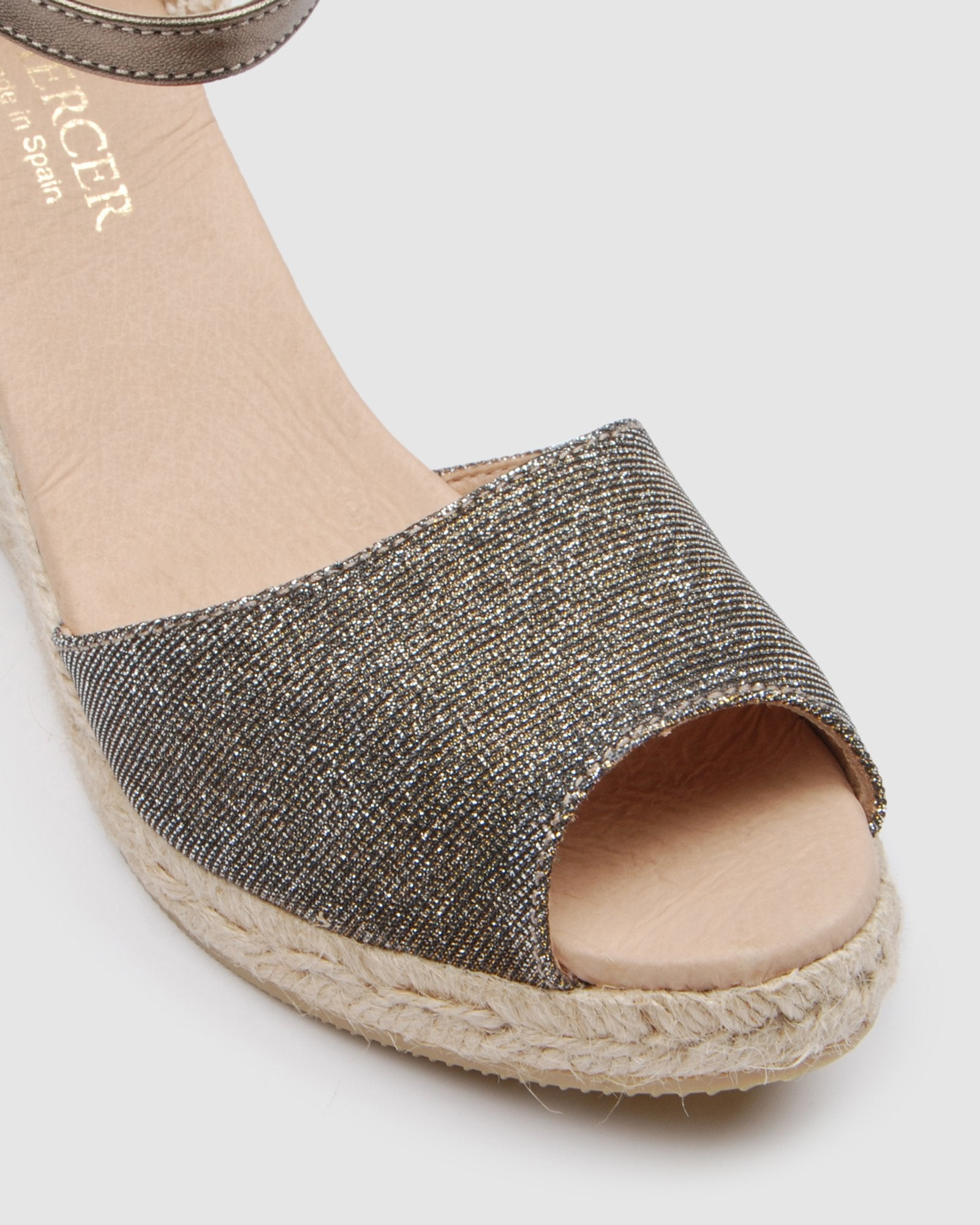OPHRA HIGH HEEL WEDGE ESPADRILLES METALLIC
