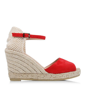 OPHRA HIGH HEEL WEDGE ESPADRILLES RED SUEDE