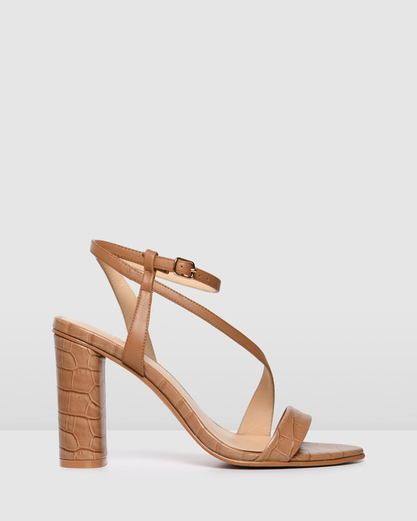 PAIGE HIGH HEEL SANDALS TAN CROC