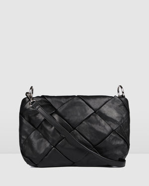 PERSIA CROSS BODY BAG BLACK LEATHER