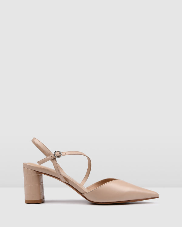 PERU MID HEELS BEIGE LEATHER