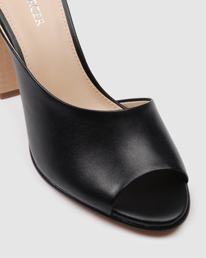 PETRA HIGH HEEL SANDALS BLACK LEATHER