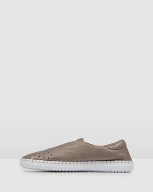 PIXEL CASUAL FLATS GREY LEATHER