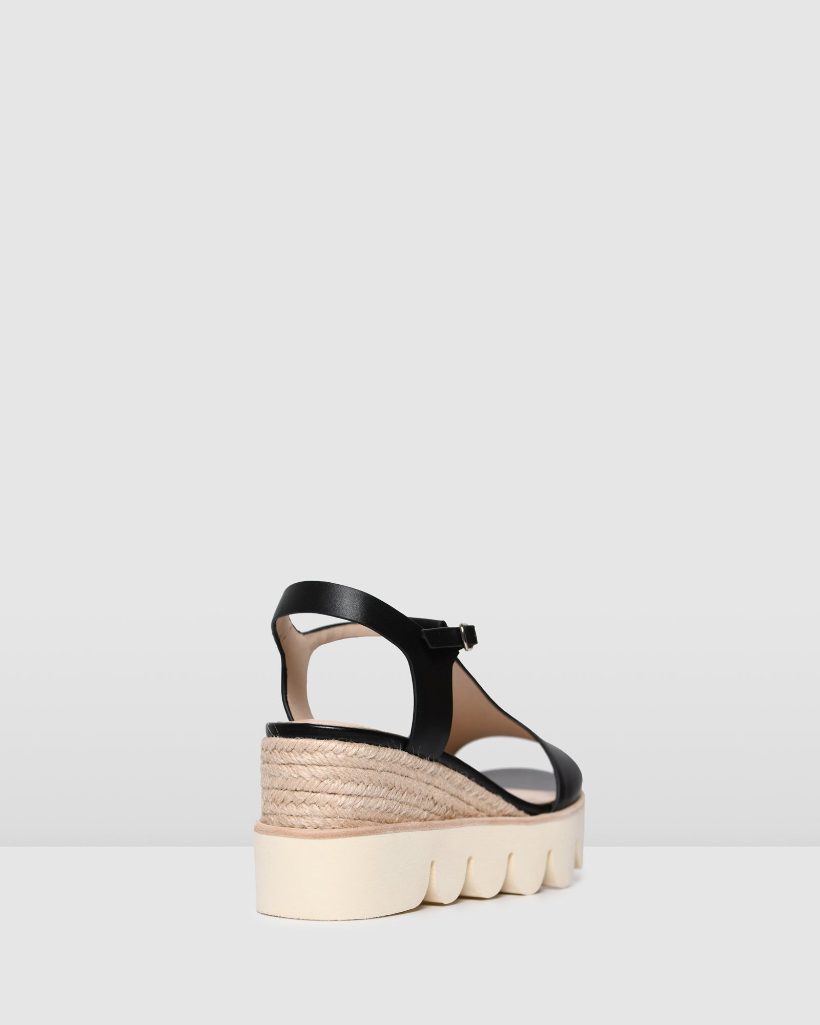 QUE HIGH HEEL WEDGE ESPADRILLES BLACK LEATHER