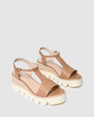 QUE HIGH HEEL WEDGE ESPADRILLES NATURAL LEATHER