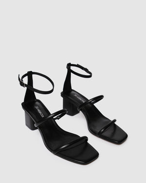 QUINN MID HEEL SANDALS BLACK LEATHER