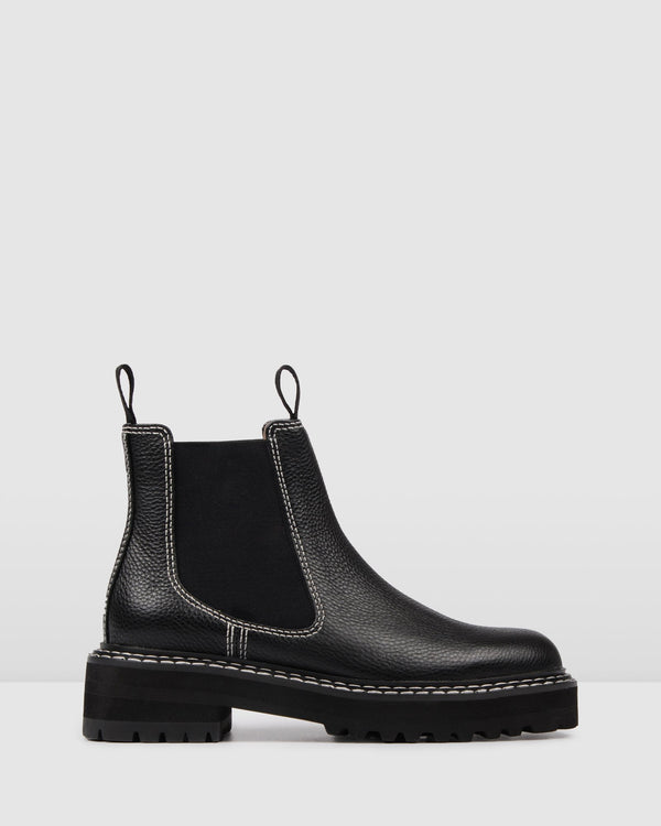 RALEIGH FLAT ANKLE BOOTS BLACK LEATHER