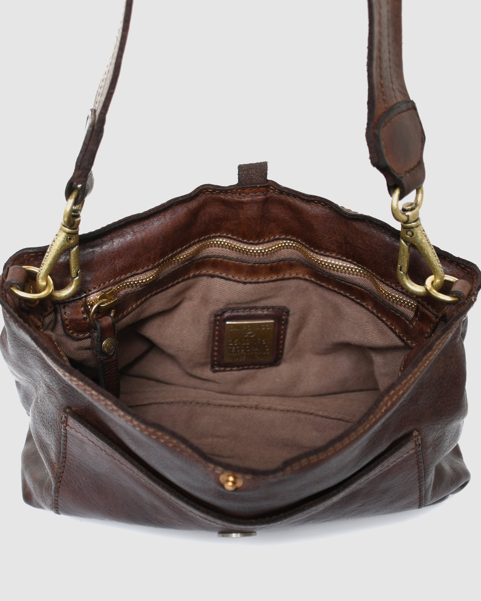 CAMPOMAGGI RAVENNA CROSS BODY BAG DARK BROWN LEATHER