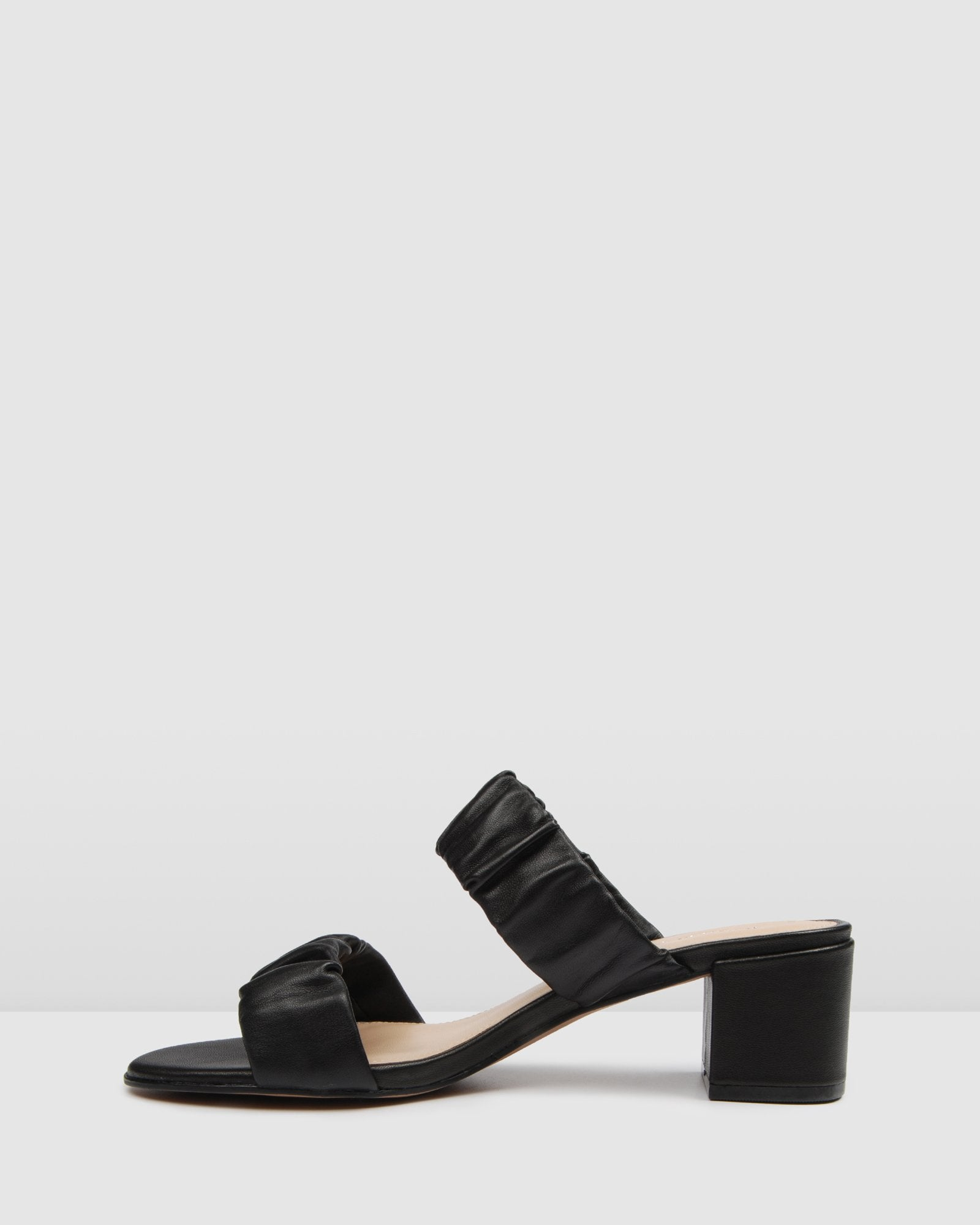 RIPLEY LOW HEEL MULES BLACK LEATHER