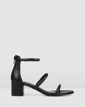ROKA LOW HEEL SANDALS BLACK LEATHER
