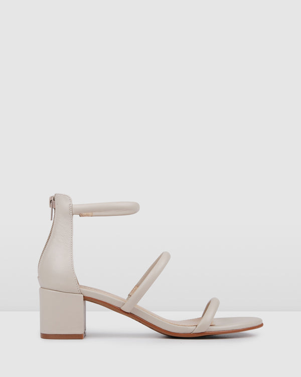 ROKA LOW HEEL SANDALS BONE LEATHER