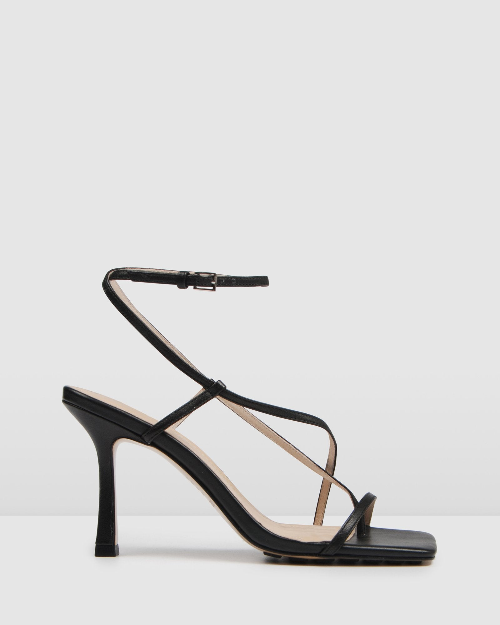 RYOKO HIGH HEEL SANDALS BLACK LEATHER