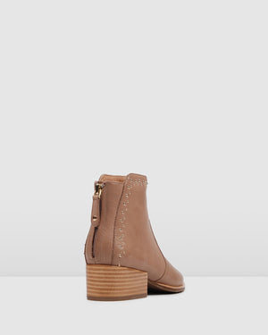 RUMBA FLAT ANKLE BOOT TAUPE LEATHER
