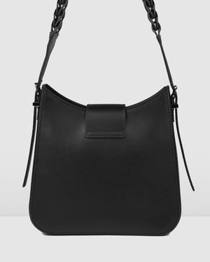 SAFFRON SHOULDER BAG BLACK LEATHER