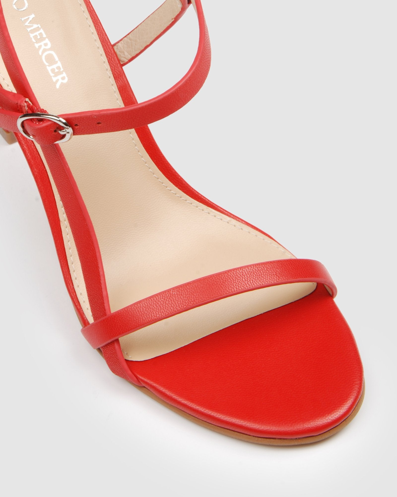 SANITY HIGH SANDALS RED LEATHER