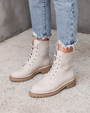 BRIGHT FLAT ANKLE BOOT BONE LEATHER
