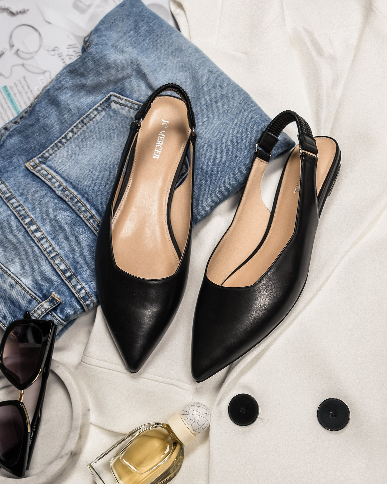 CIRCA DRESS FLATS BLACK LEATHER
