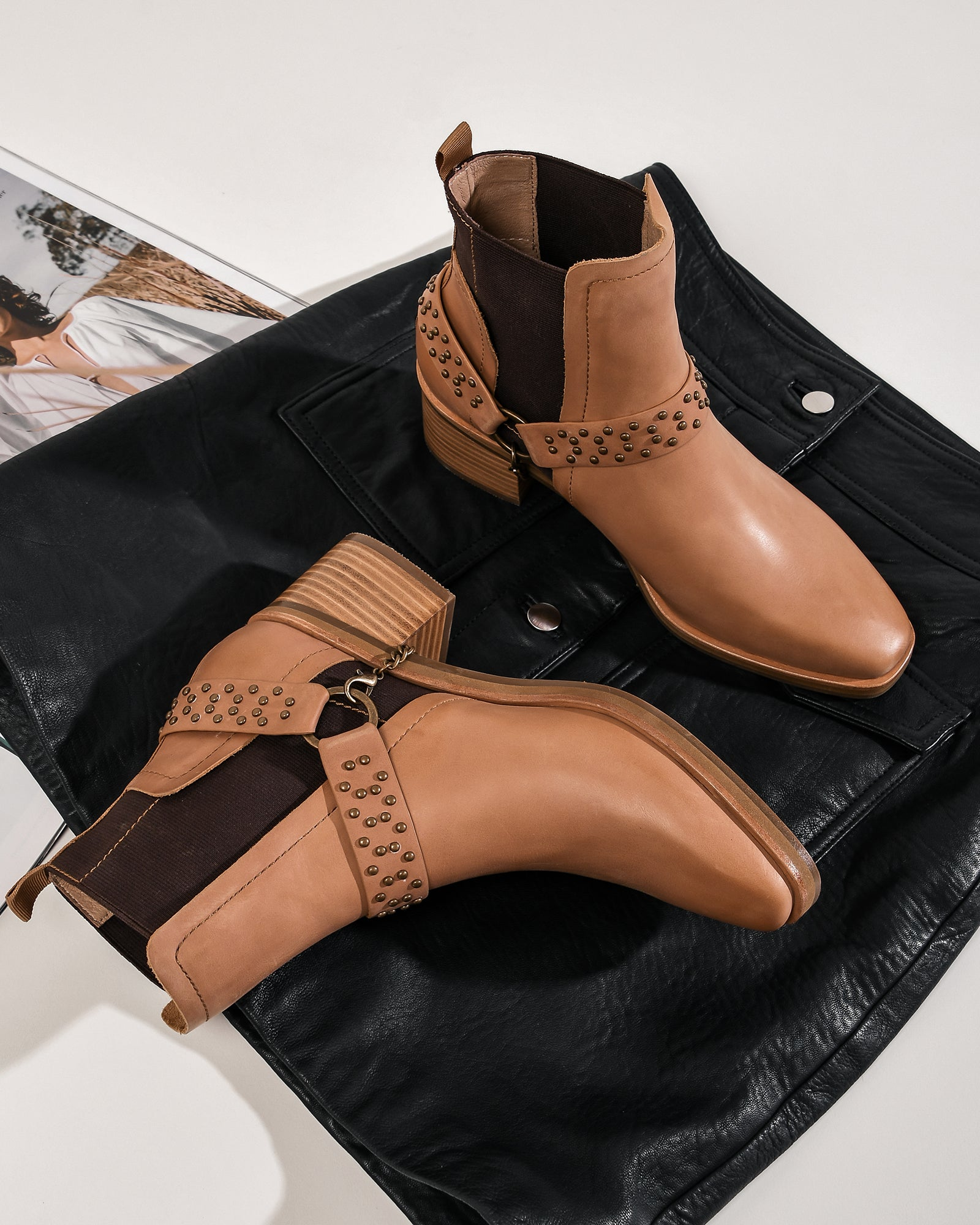 EVERLEIGH MID ANKLE BOOTS CHOCOLATE LEATHER