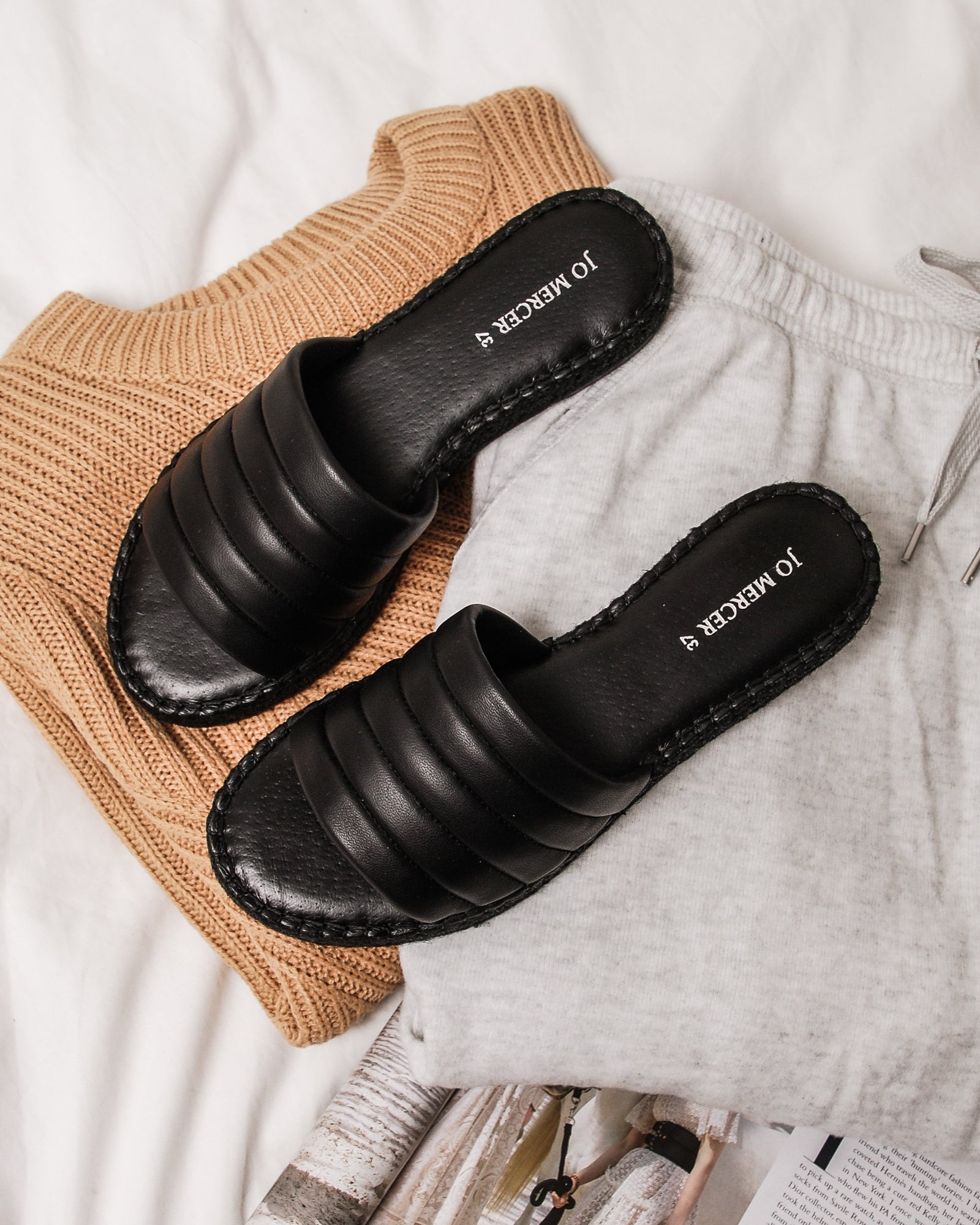 GALAXY ESPADRILLE SLIDES BLACK LEATHER
