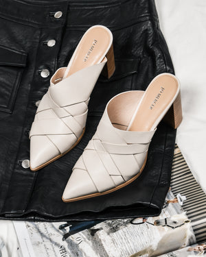 RAVEN HIGH HEELS BONE LEATHER