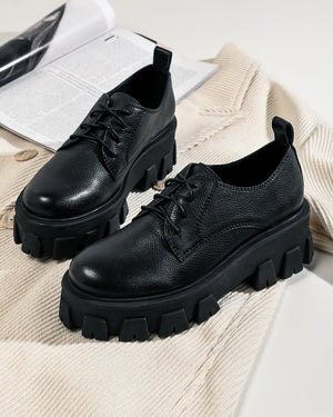 RUBEN LACE UPS BLACK LEATHER