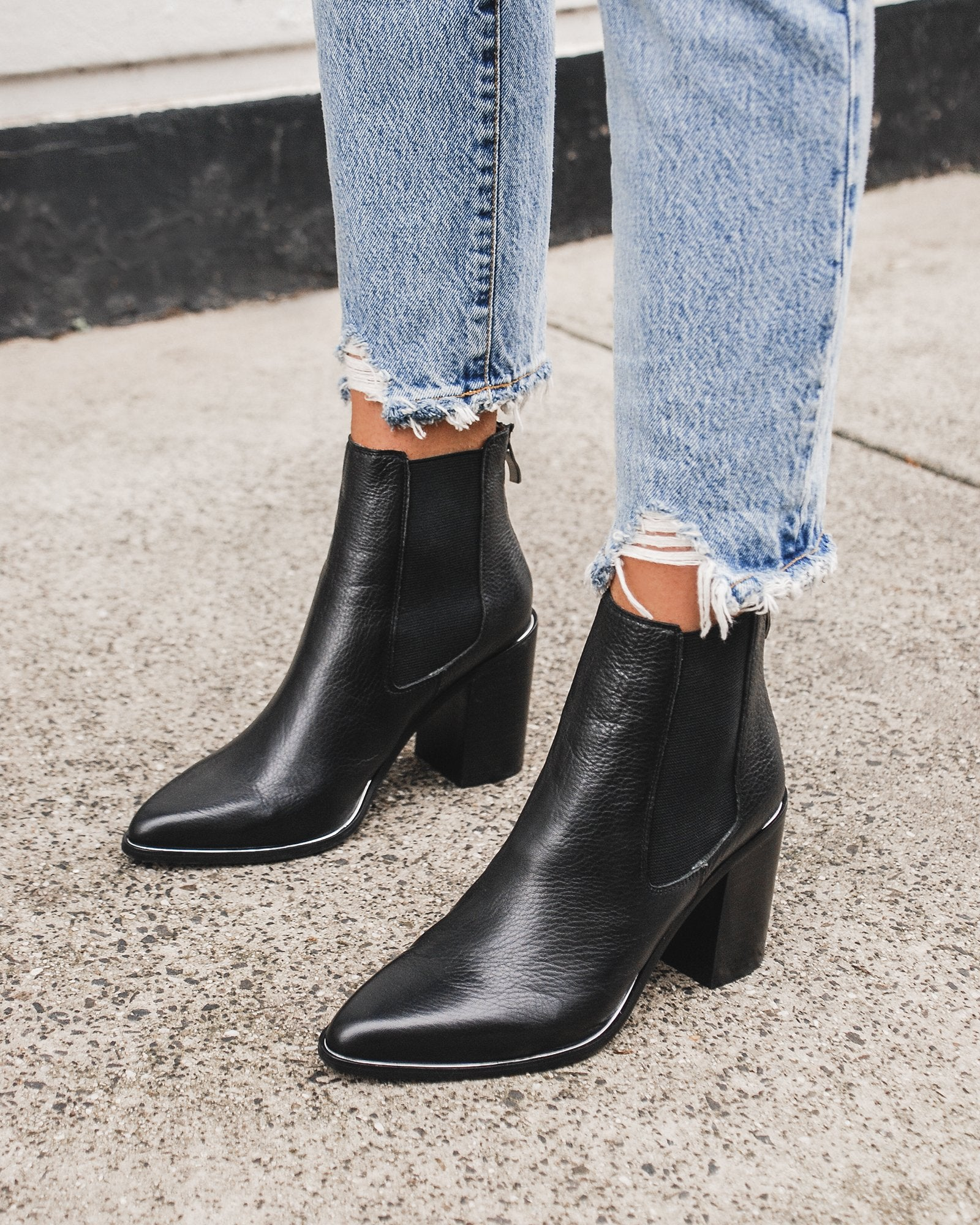 LOVER HIGH ANKLE BOOTS BLACK LEATHER