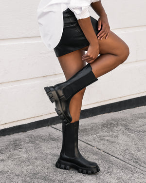 MATRIX FLAT ANKLE BOOTS BLACK LEATHER