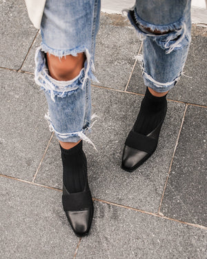 SINCLAIR FLAT ANKLE BOOTS BLACK LEATHER