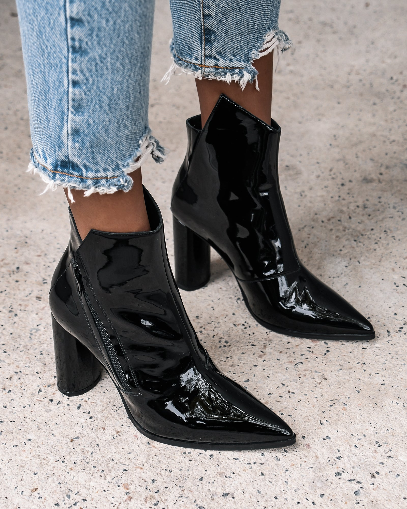 TUX HIGH ANKLE BOOTS BLACK PATENT