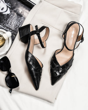 HAVANA LOW HEELS BLACK LEATHER