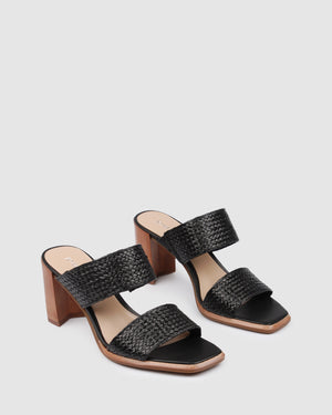 SURREY MID HEEL SANDALS BLACK RAFFIA