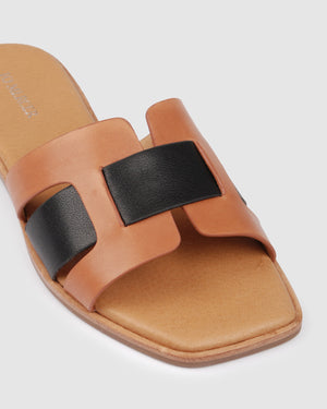 TARA FLAT SLIDES DARK TAN MULTI