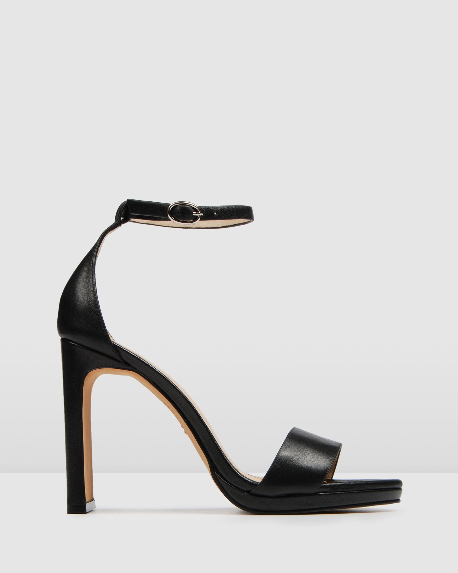 TAURUS HIGH HEEL SANDALS BLACK LEATHER